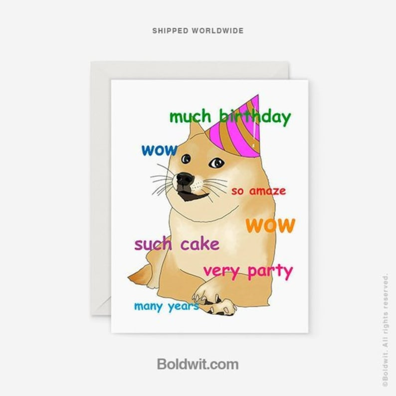 Doge Birthday Card Funny Meme Internet Wow Cards Cake Party
