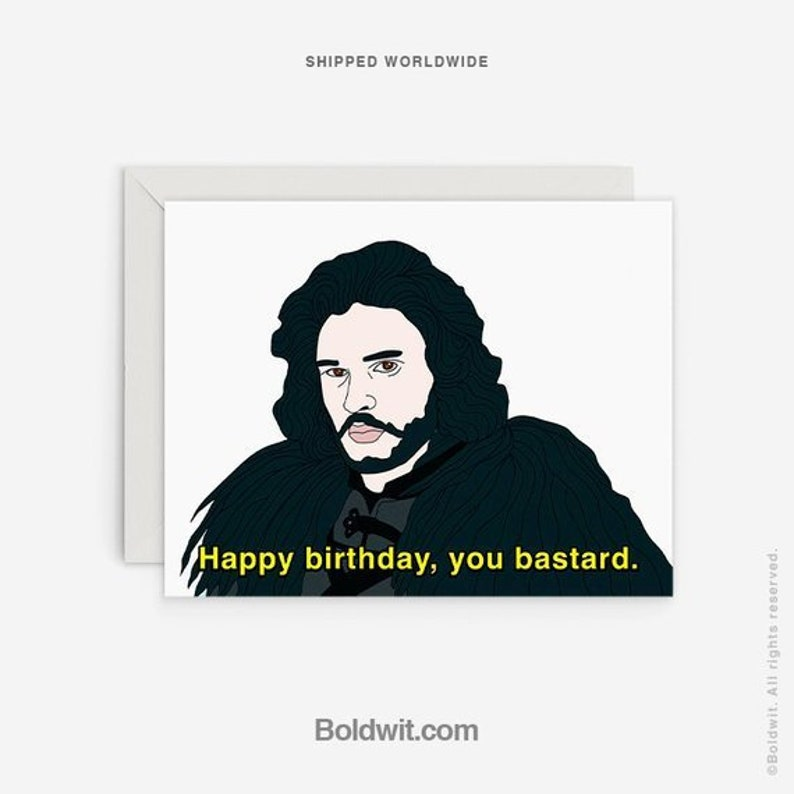 Jon Birthday Card Funny Snow Gift Nerdy Boyfriend Pop Culture