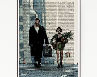 Leon The Professional Classic Drama Movie Poster Print Illustration French Art Decor Dictionary Wall Natalie Portman Jean Reno Gary Oldman