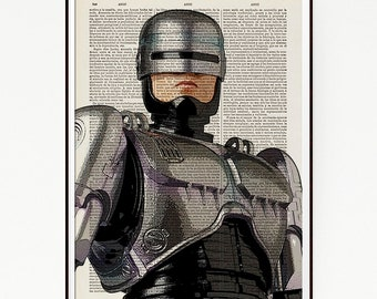 Robocop American Cyberpunk Action Film Movie Poster Print Geekery Illustration Art Decor Book Dictionary Science Fiction Superhuman Cyborg