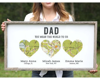 Personalized Fathers Day Gift For Dad From Daughter Wood Heart Map Long Distance Father Birthday Family