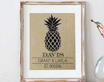 Personalized Pineapple, Monogram, Gift for Couple, Dorm Decor, Pineapple Wall Decor, Office Decor, Gifts for Her, Pineapple Decor, Wife Gift