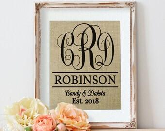 Burlap Wedding, Wedding Monogrammed Gift, Mr and Mrs Wall Decor, Burlap Print, Burlap Sign, Personalized Wall Decor, Burlap Wedding Gift