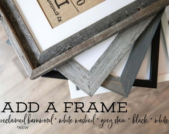 Frame Add-On by KNOTnNEST for 5 x 7, 8 x 10 and 11 x 14 print sizes- Wooden frame and glass, Frame ONLY, Ready to Gift