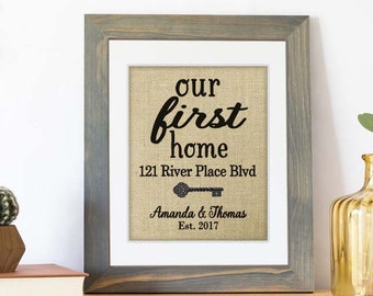 New Home Housewarming Gift First Home, Personalized Address Sign, House Warming Gift, New Homeowner Sign, Home Coordinates, New House Gift
