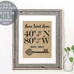 New Home Housewarming Gift Rustic Gifts Our First Home House Warming Gift Latitude Longitude Sign Real Estate Gift Address Sign Coordinates