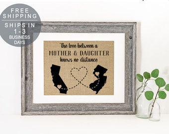 Personalized State Art Long Distance Mother Daughter Gift Birthday For Mom From Home Gifts