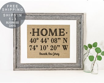 Our First Home, Coordinates Sign, Personalized Housewarming Gift, Latitude Longitude Sign, Gift for Newlyweds, House Warming Gift, Home Sign