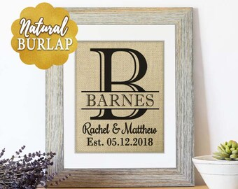 Wall Decor Mr and Mrs Burlap, Wedding Monogrammed Gift, Wedding Gift Idea, Bridal Shower, Gifts for Newlyweds, Burlap Wedding Signs