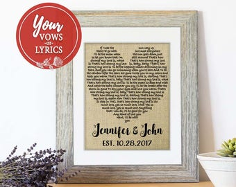 Personalized Gift for Him Wedding Anniversary Gift Wedding Gift One Year Anniversary Gift First Dance Song Lyrics 1st Anniversary Gifts