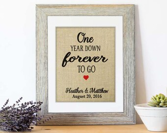 One Year Down Forever to Go, First Wedding Anniversary Gift for Husband, 1st Year Anniversary Gift for Wife, Personalize with ANY Year