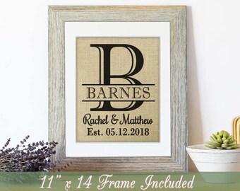 Framed Burlap Print, Burlap Sign, Personalized Wedding Shower Gift, Personalized Mr and Mrs, Wedding Present, Burlap Wedding Gift