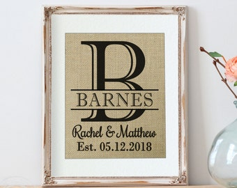 Wedding Shower Gift, Wedding Print, Personalized Wedding Gift, Personalized Burlap Wedding Print, Personalized Gift, Monogrammed Burlap