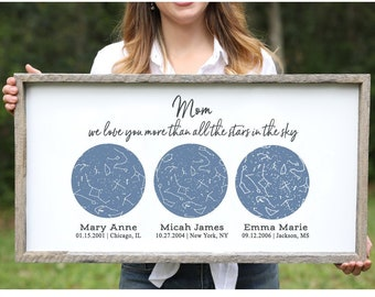Star Map Names And Birthdays Constellation Art Personalized Gift Mothers Day Gift For Mom From Daughter Wood Sign Mother Daughter Gift