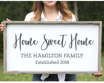 Wedding Gift for Couple Home Sweet Home Farmhouse Wood Sign Family Name Signs Custom Name Sign Established Signs Personalized Name Sign