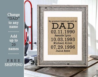 Personalized Birthday Gift From Daughter For Dad Son Custom Fathers Day Photo Frame Daddys Girl Children
