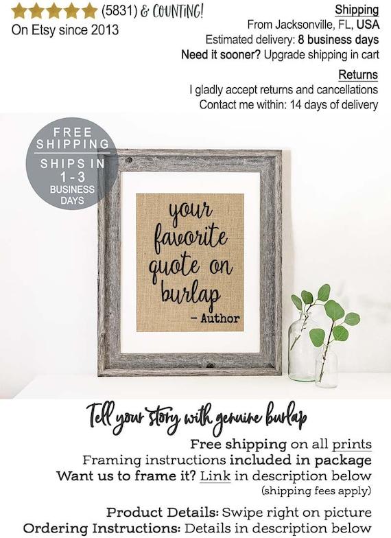 Custom Quote Print on Burlap Quote Prints Valentine\'s   Etsy