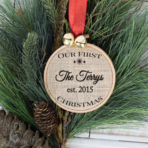 Our First Christmas Newlywed Christmas Gift Ornament Rustic | Etsy