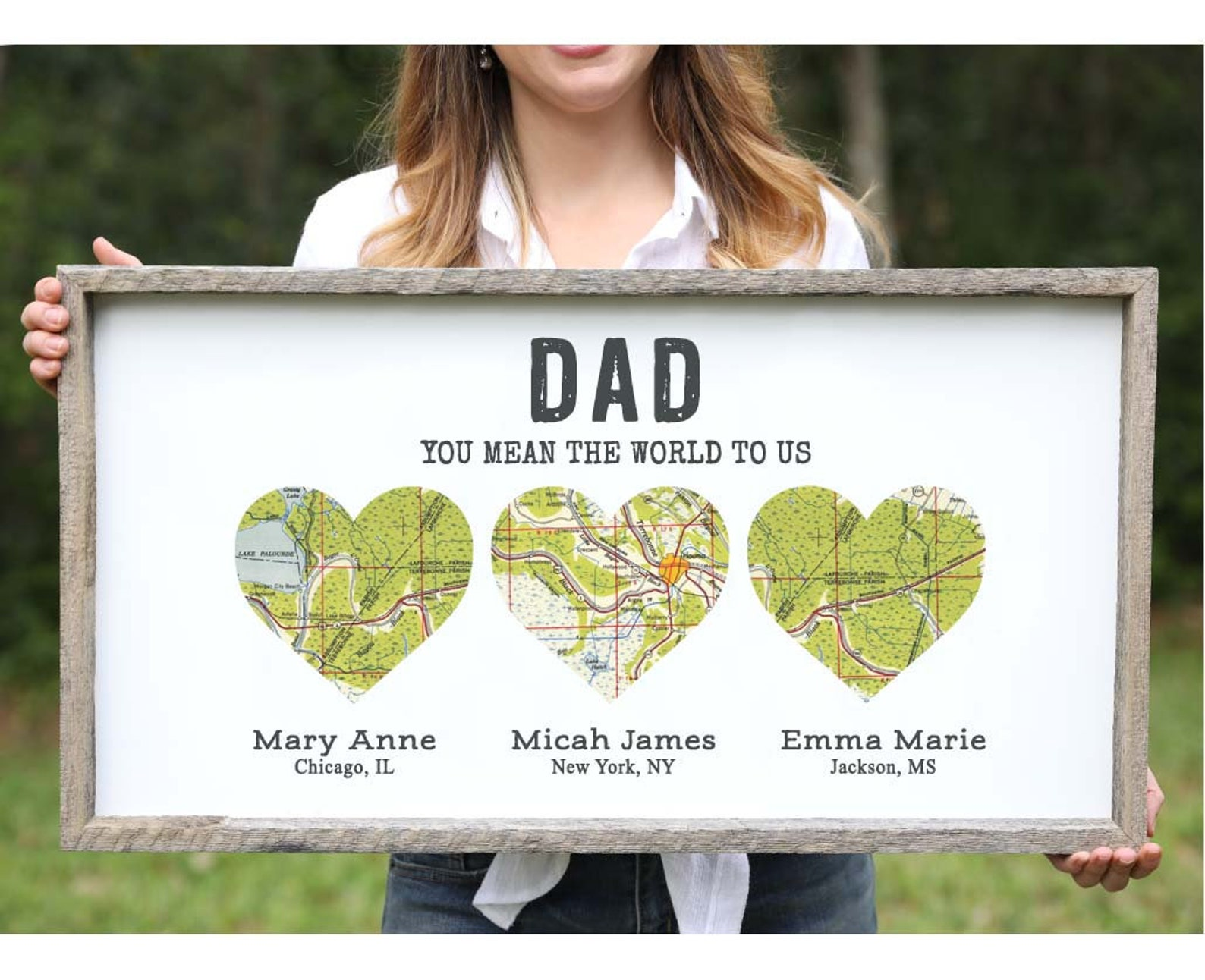 Personalized Wood Heart Map for Dad