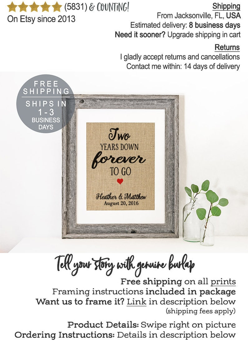 2 Year Wedding Anniversary Gift.2 Years Down Forever To Go 2nd Wedding Anniversary Gift For Husband Gift For Wife Second Anniversary Gift Personalize For Any Year