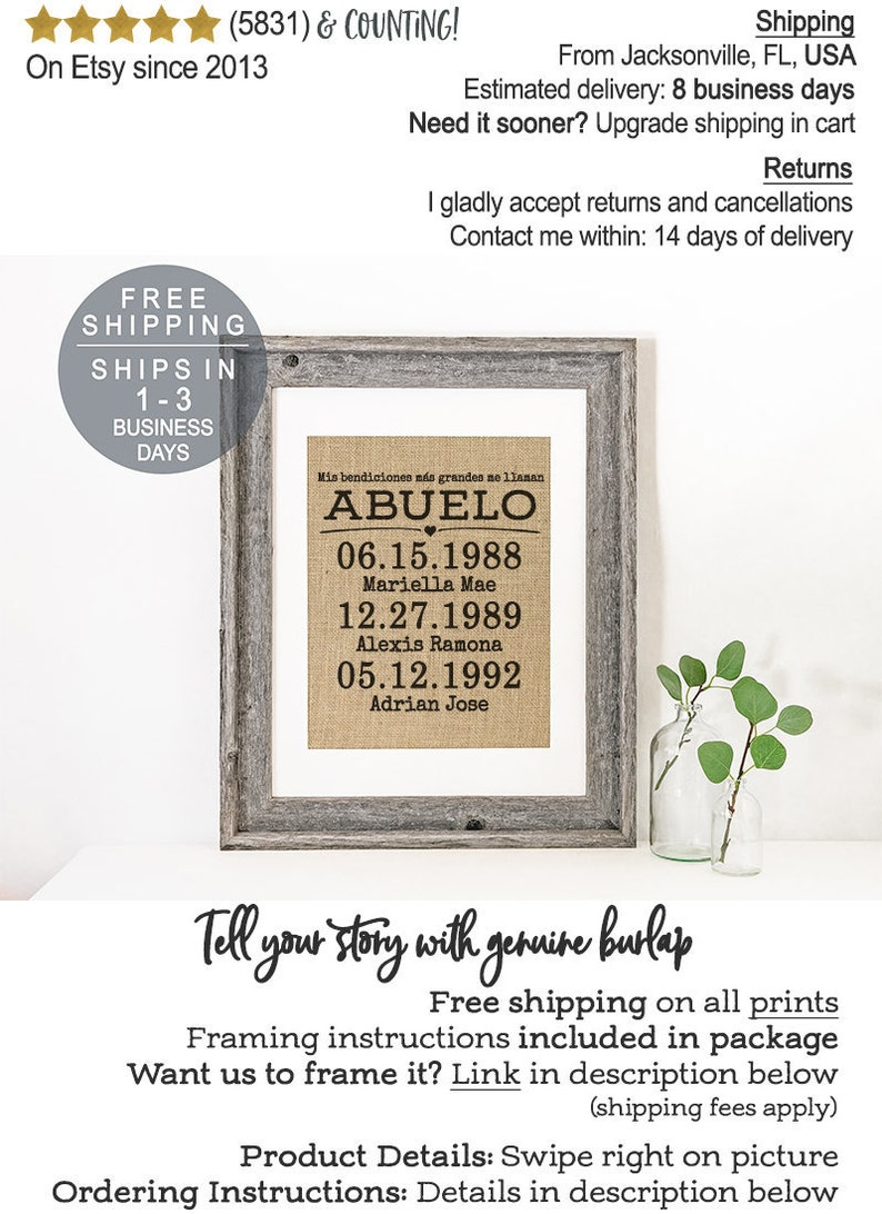 Spanish Gift for Abuelo Gift, Custom Father's Day Gift , Latino Dad, Gift  for Dad Spanish, My greatest blessings in Spanish, Abuelo Birthday