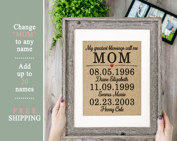 Personalized Gift For Mom From Daughter Birthday Mothers Day Son Git