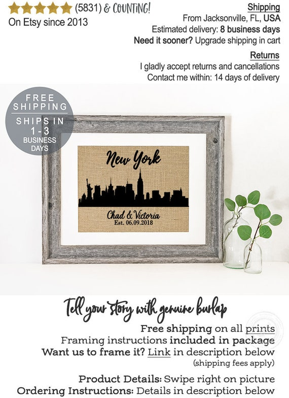 New York City Skyline Print Skyline Wedding Gift for Couple | Etsy