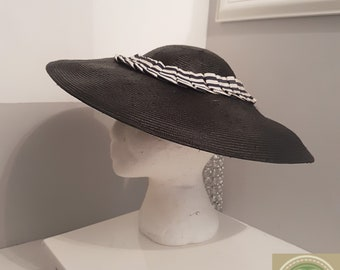 1940 s Style Navy Straw Hat be26b1e1130