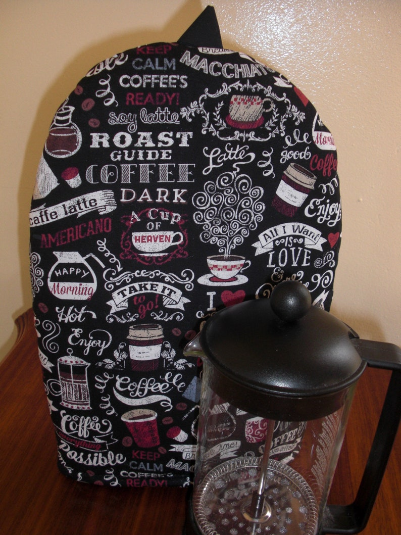 French Press Coffee Cozy Cafetaire Cover  Black Print Coffee image 0