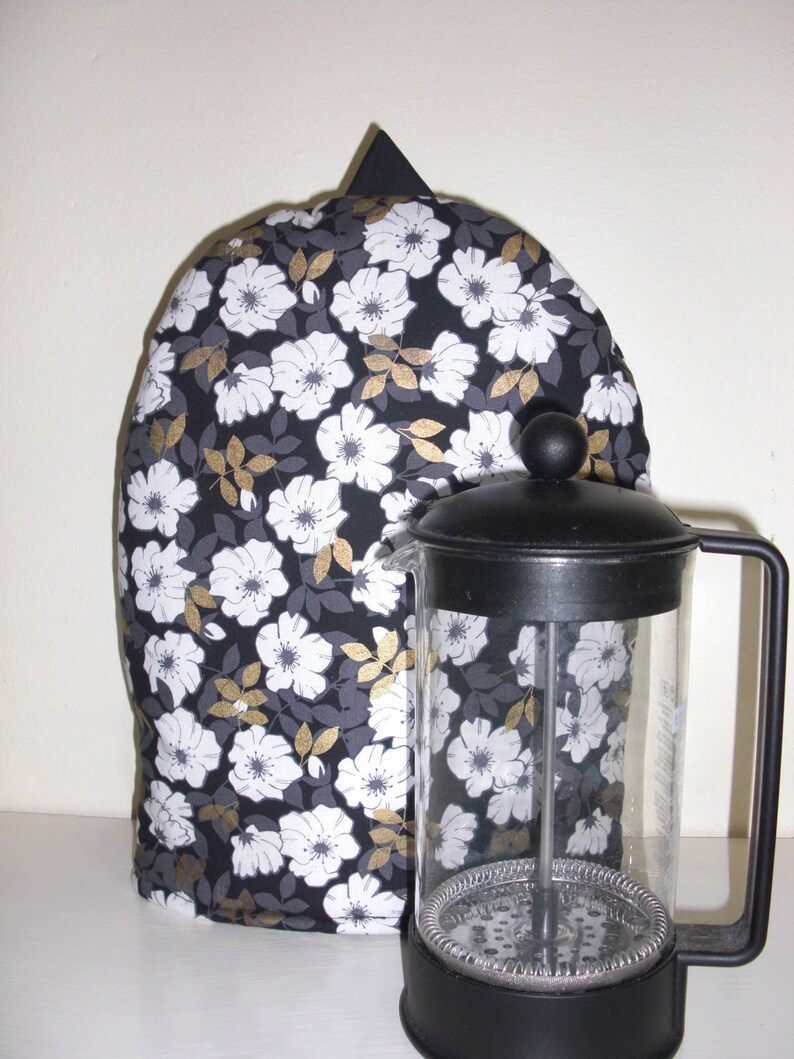 French Press Coffee Cozy Cafetaire Cover Black and White and image 0