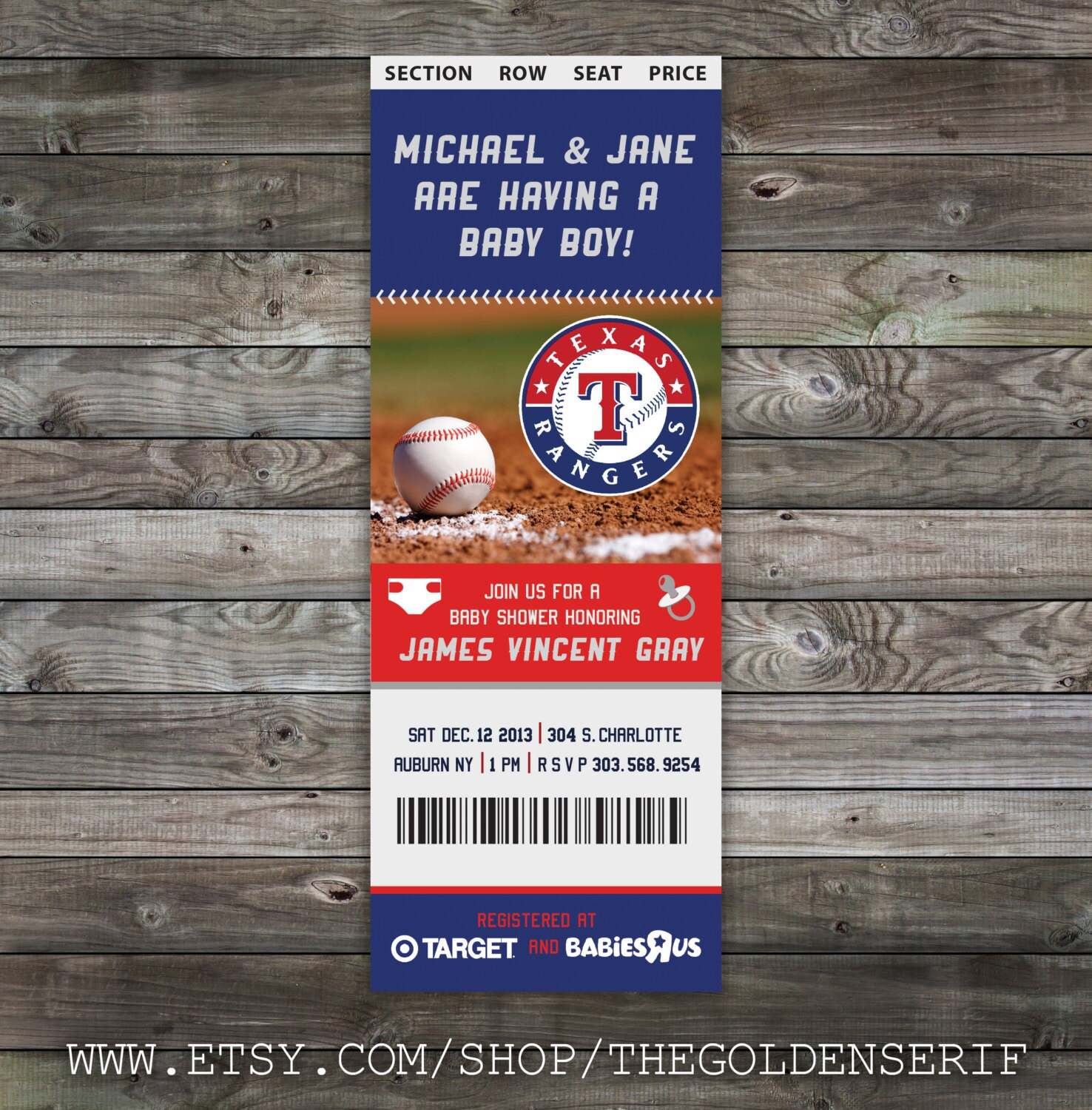 Printable Baseball ticket Baby Shower Invitation | Etsy