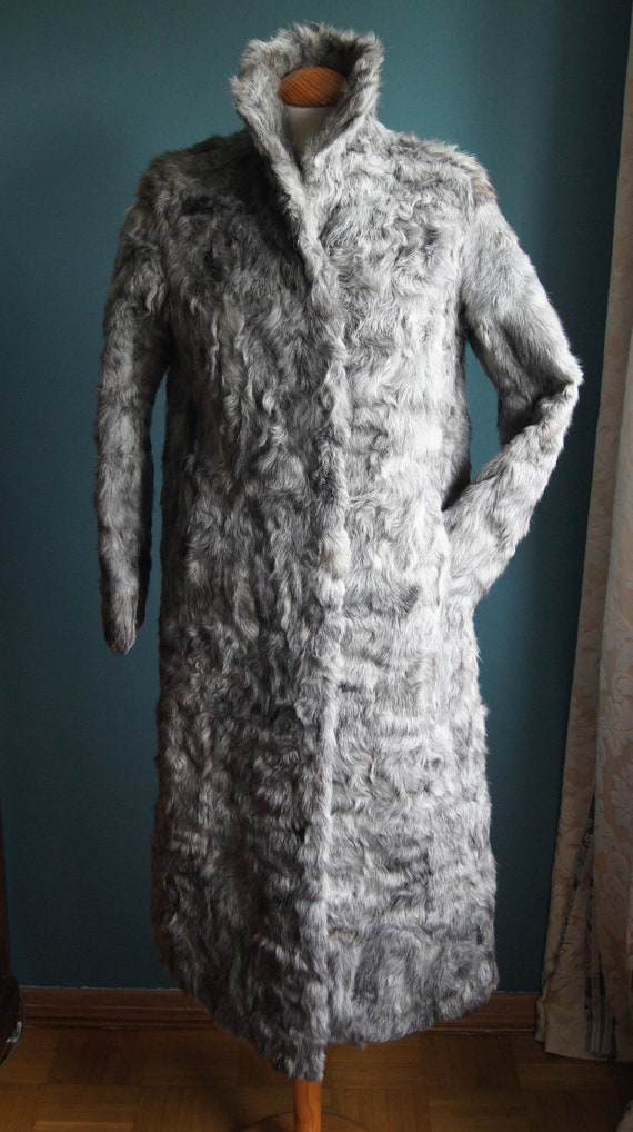 Real fur coat Grey Curly Lamb Size M