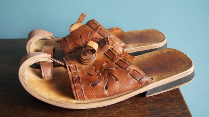 Vintage Handmade leather slippers EU size 43