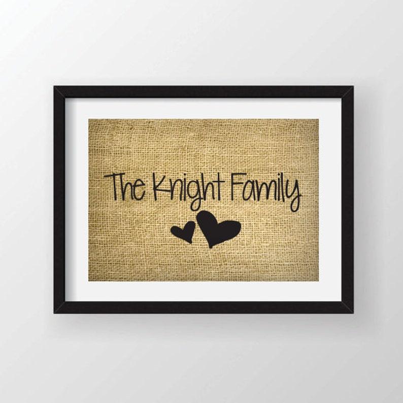 Hearts and Family Name on Actual Burlap Fabric Custom Burlap Art Print