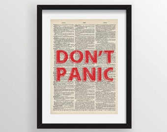 Don't Panic - The Hitchhiker's Guide to the Galaxy - Douglas Adams - Recycled Vintage Dictionary Art Print