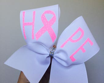 Hope Breast cancer awareness neon pink and white cheer bow