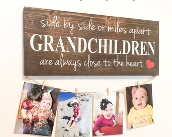 Side By Or Miles Apart Grandchildren Are Always Close To The Heart Custom Wood Sign Grandmother Gift For Grandma Picture