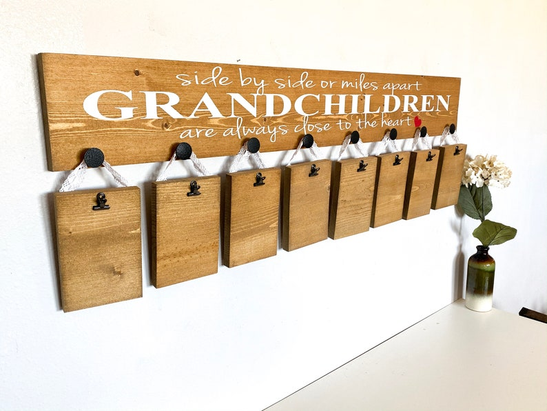 Side by side or miles apart sign  Grandchildren are close to the heart sign  Custom Grandparent gift  Picture sign for Grandparents