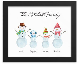 Snowman Family print, Personalized family print, Christmas wall art, Custom Family Gift, housewarming gift, gift for mom and dad