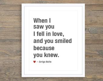 When I Saw You I Fell In Love Art Print  Love Print,  Love Quote Print , Anniversary Gift Idea , Bedroom Wall Art, Romantic Wall Art