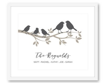 Personalized Family Art Print - Birds Family Sign - Family Name Poster - Wedding Anniversary Gift - Frame not included
