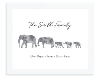 Elephant print, Personalized family print, elephant family wall art, Family Names Custom Print, housewarming gift, mother's day gift for mom