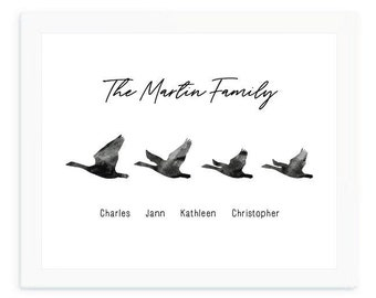 DIGITAL FILE, Goose family print, Personalized family print, Family Names Custom Print, housewarming gift, mother's day gift for mom