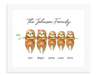 Sloth Print, Personalized family print, sloth family wall art, Family Names Custom Print, housewarming gift, mother's day gift for mom
