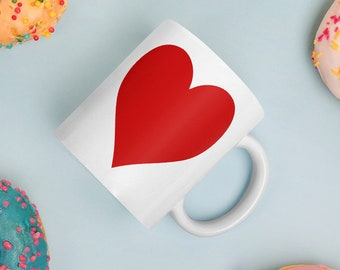 red heart mug, heart coffee mug, gift for her, christmas gift, Valentine's Day gift for her or him