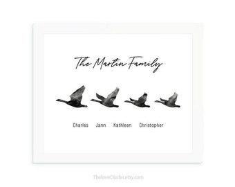 Geese family print, Personalized family print, family wall art, Family Names Custom Print, housewarming gift, mother's day gift for mom