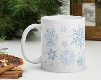 snowflakes mug, christmas gift, coworker gift, gift for her or him, winter mug, snowflake gifts