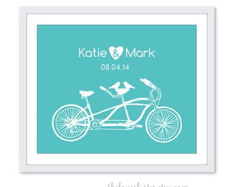 Wedding Personalized Couples Print - Love Poster- Tandem Bike and birds - Wall Art - turquoise blue