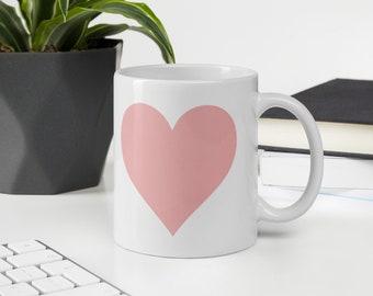pink heart mug, heart coffee mug, gift for her, christmas gift