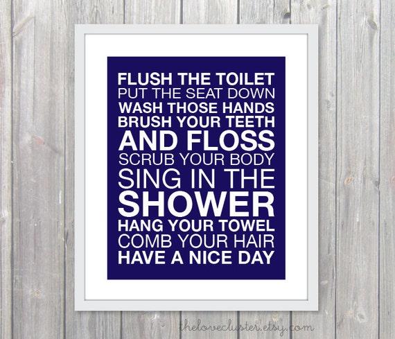 Bathroom Rules Wall Art Bathroom Rules Art Print Modern   Etsy